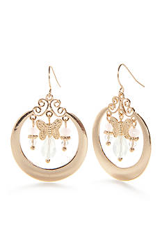 Red Camel® Gold-Tone White Flower Butterfly Drop Earrings