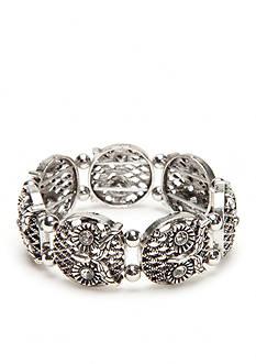 Red Camel Silver-Tone Owl Stretch Bracelet
