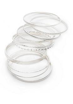 Red Camel Silver-Tone 10-Piece Bangle Bracelet Set