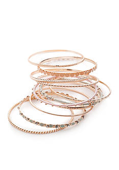 Red Camel Rose Gold-Tone Make Me Blush 9-Piece Bangle Bracelet Set