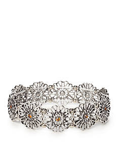 Red Camel Silver-tone Flower Stretch Bracelet