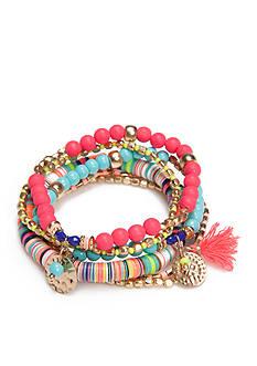 Red Camel Gold-Tone Bohemian Fun 6-Piece Stretch Bracelet Set