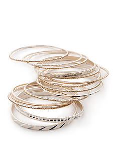Red Camel Two-Tone Make Me Blush 15-Piece Bangle Bracelet Set