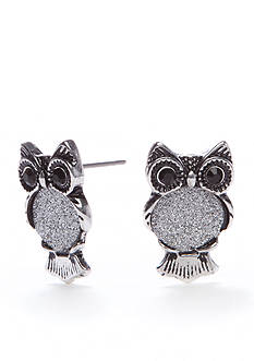 Red Camel Silver-Tone Girly Grunge Owl Stud Earrings