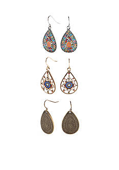 Red Camel® Two-tone Tear Drop Earring Set