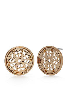 Red Camel Gold-Tone Round Filigree Button Earrings