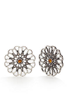 Red Camel Silver-tone Flower Button Earrings
