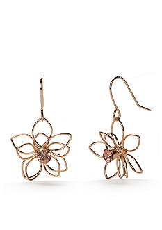 Red Camel Gold-Tone Make Me Blush Flower Drop Earrings