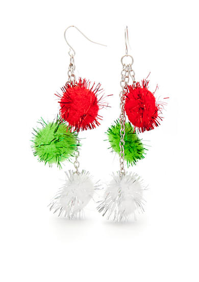 Red Camel® Multi-color Pom Pom Trio Earrings