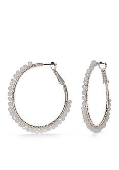 Red Camel Silver-Tone Pearl Hoop Earrings