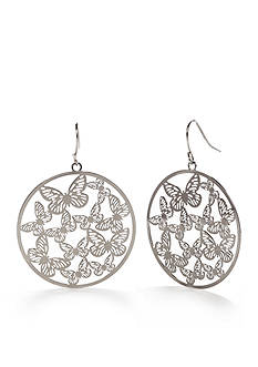 Red Camel Silver-Tone Make Me Blush Butterfly Drop Earrings