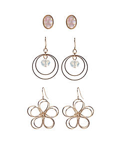 Red Camel Gold-Tone Make Me Blush Trio Earring Set