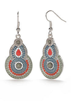Red Camel Silver-Tone Make Me Blush Double Drop Earrings