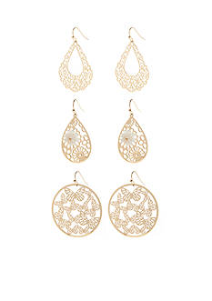 Red Camel Gold-Tone Make Me Blush Trio Drop Earring Set