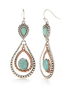 Red Camel Two-Tone Boho Chic Double Drop Earrings
