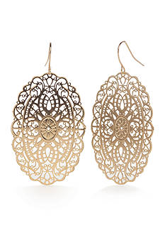 Red Camel Gold-tone Filigree Disc Drop Earrings