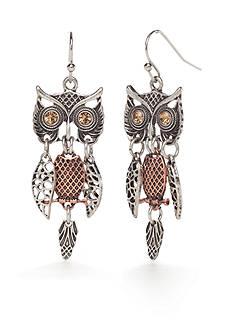 Red Camel Two-Tone Owl Drop Earrings