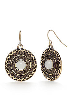 Red Camel Gold-tone Circle Drop Earrings