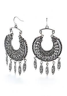 Red Camel Silver-tone Crescent Moon Tassel Drop Earrings