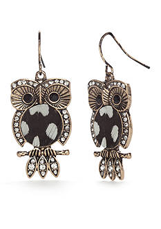 Red Camel Gold-Tone Spirit Animal Owl Drop Earrings