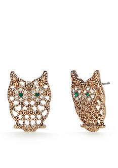 Red Camel® Gold-Tone Spirit Animal Owl Button Earrings