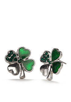 Red Camel Silver-Tone St. Patrick's Day Shamrock Button Earrings