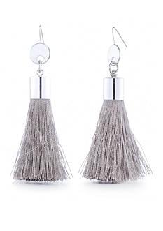 Red Camel Silver-Tone Tassel Earrings