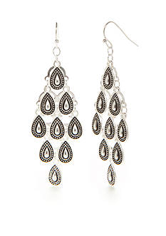 Red Camel Silver-Tone Boho Chic Kite Chandelier Earrings