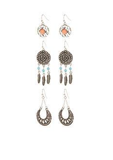 Red Camel Silver-Tone Boho Girl 3-Pack Drop Earrings