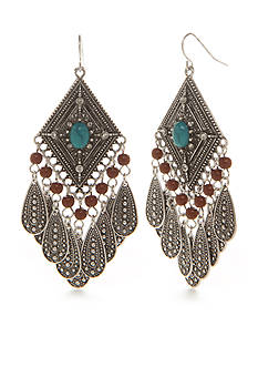 Red Camel Silver-Tone Boho Chick Feather Drop Earrings