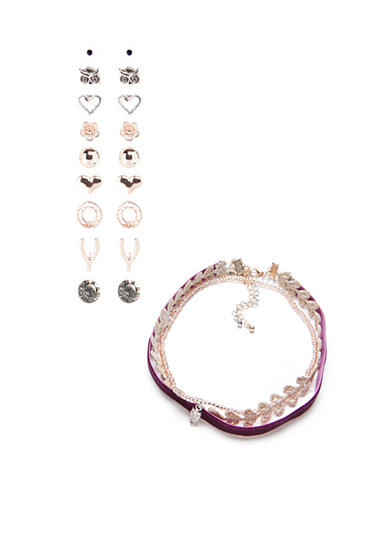 Red Camel® Two-Tone Earring and Choker Set