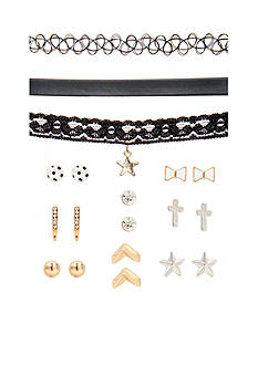 Red Camel Two-Tone Earring and Choker Set