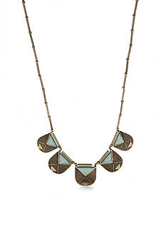 Red Camel Turquoise Triangle Collar Necklace