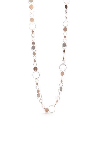 Red Camel® Two-Tone Stamped Diamond Dust Disc Necklace