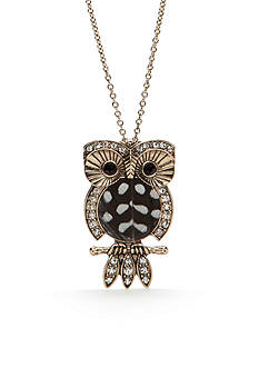 Red Camel Gold-Tone Spirit Animal Owl Pendant Necklace