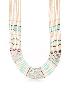 Red Camel Silver-Tone Boho Chick Multi Beaded Necklace