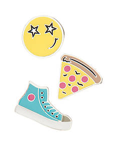 Red Camel Silver-Tone Star Eyes, Emoji Pizza and Sneaker Multi-Tack Pin Set