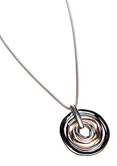 Nine West Tri-color Circle Pendant Necklace