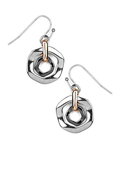 Nine West Geometric Tri Color Drop Earring
