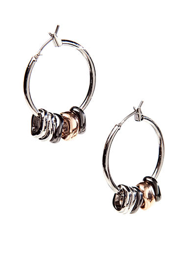 Nine West Silver-Tone Tube Hoop Earrings