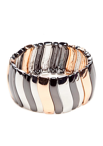 Nine West Tri-Color Wave Stretch Bracelet