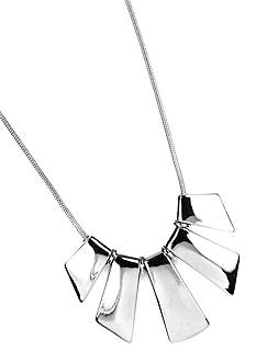 Nine West High Polish Silver-Tone Graduated Geometric Necklace
