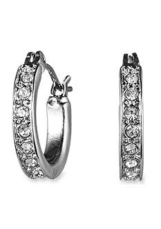Nine West Silver-Tone Crystal Pave Hoop Earrings