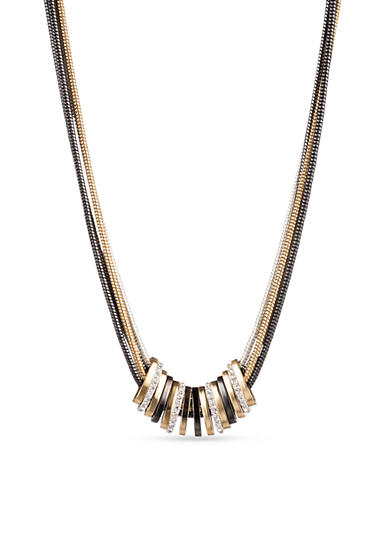 Nine West Tri Tone Frontal Necklace