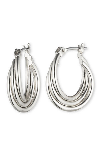 Nine West Silver-Tone Small Twist Hoop Earrings