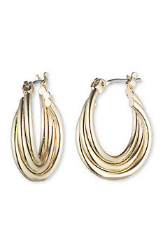 Nine West Gold-Tone Twisted Hoop Earrings