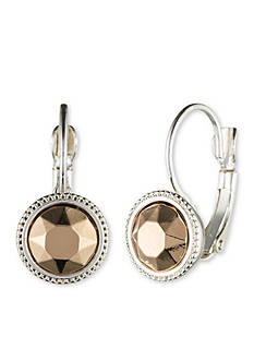 Nine West Two-Tone Round Drop Leverback Earrings