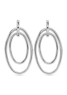 Nine West Silver-Tone Shiny Double Doorknocker Earrings