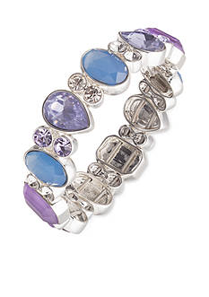 Nine West Silver-Tone Lucky Lavender Stretch Bracelet