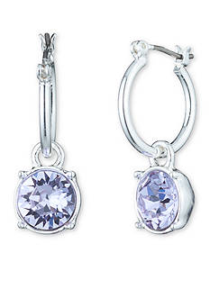 Nine West Silver-Tone Lucky Lavender Hoop Earrings